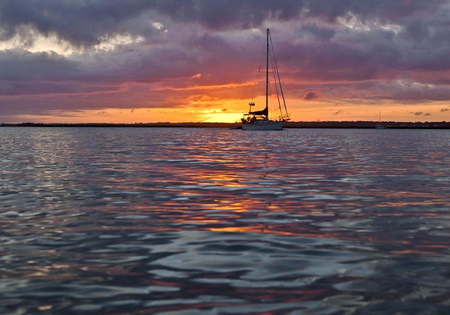 sunset sail coastal art
