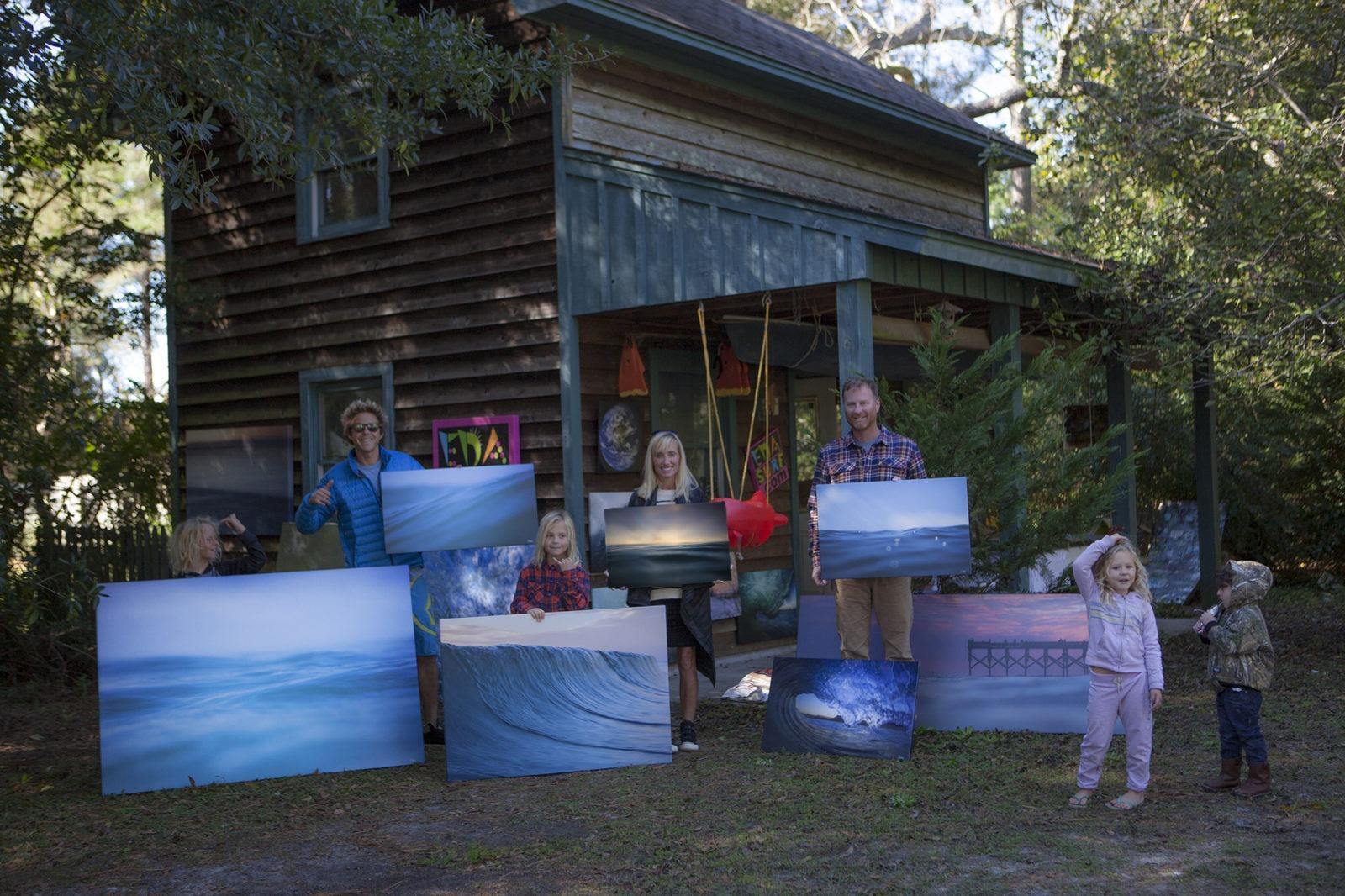 The Oblinger Family Stoked at the EDA Surf Art Studio.