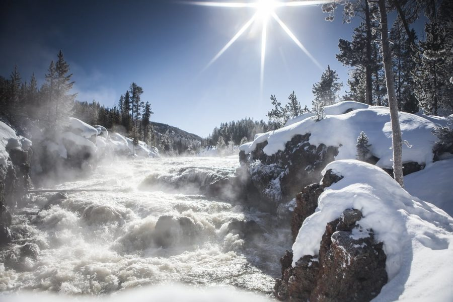 steaming falls yellowstone photography