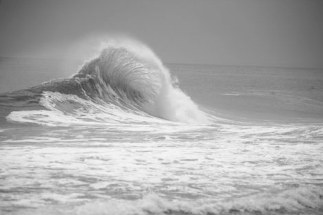 Fan Wave Black and White Surf Photography